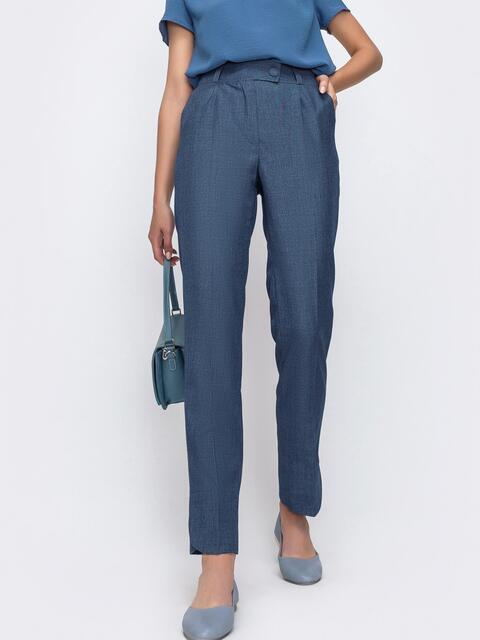 Зауженные брюки синего цвета с карманами 49486, фото 1