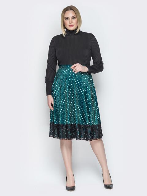 Зелёное платье с верхом-гольф и юбкой-клёш с гипюром - 19935, фото 1 – интернет-магазин Dressa