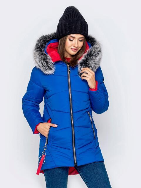 Зимняя куртка с удлиненной спинкой и капюшоном синяя - 40912, фото 1 – интернет-магазин Dressa