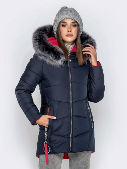 Зимняя куртка с удлиненной спинкой и капюшоном тёмно-синяя - 40911, фото 1 – интернет-магазин Dressa