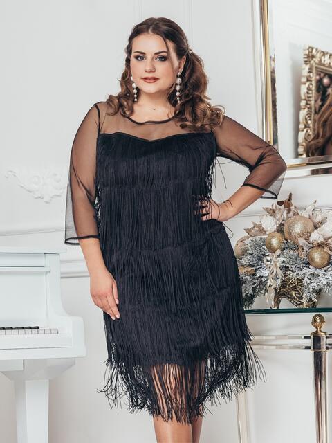 Чёрное платье большого размера с многоярусной бахромой - 43760, фото 1 – интернет-магазин Dressa