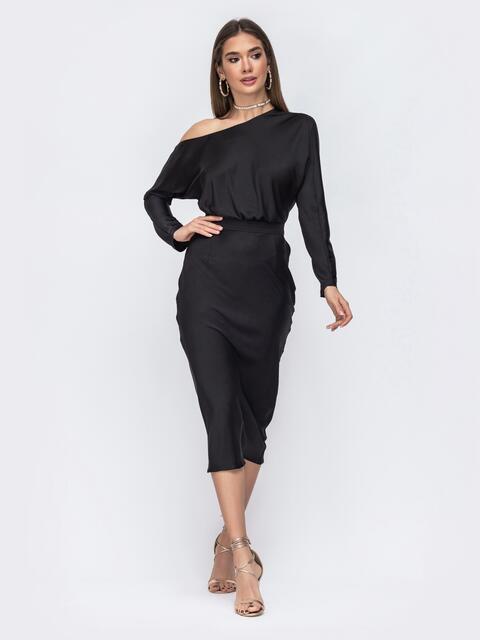 "Чёрное платье из шелка ""Армани"" на одно плечо - 43013, фото 1 – интернет-магазин Dressa"