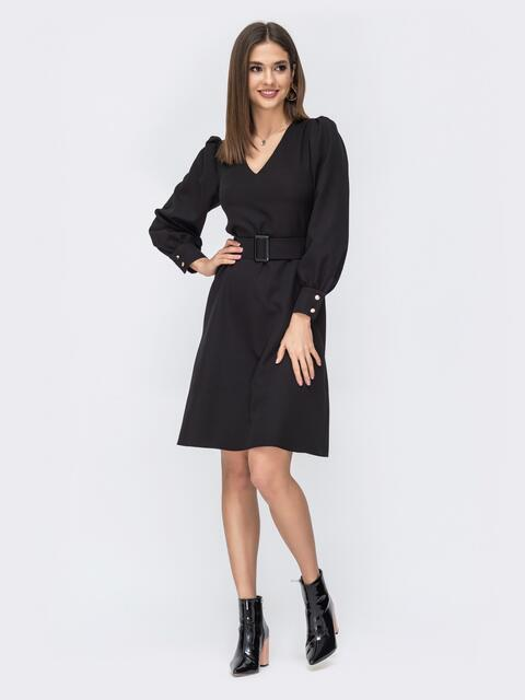 Чёрное платье с расклешенной юбкой - 44206, фото 1 – интернет-магазин Dressa