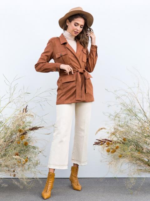 Кардиган из замши с накладными карманами коричневая - 40479, фото 1 – интернет-магазин Dressa
