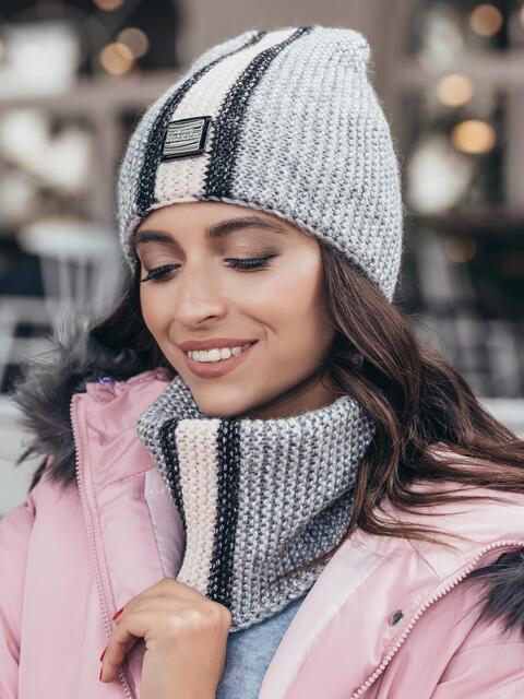 Комплект с контрастнй вязкой из шапки и хомута серый 40445, фото 1