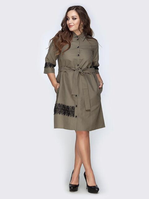 Платье-рубашка цвета хаки с гипюровыми вставками - 19166, фото 1 – интернет-магазин Dressa