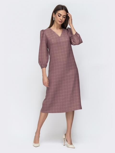 Пудровое платье в клетку с рукавом-фонарик 45079, фото 1