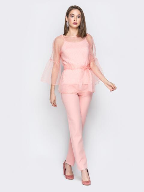 Розовый комплект с блузкой в горох и топом - 19552, фото 1 – интернет-магазин Dressa