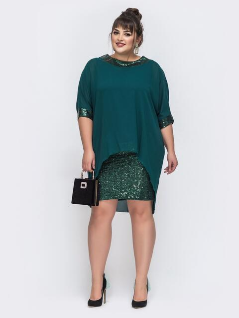 Тёмно-зелёное платье с пайетками и шифоновым верхом 43720, фото 1