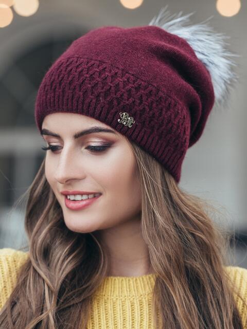 """Бордовая шапка мелкой вязки с узором """"ромбик"""" - 14965, фото 1 – интернет-магазин Dressa"""