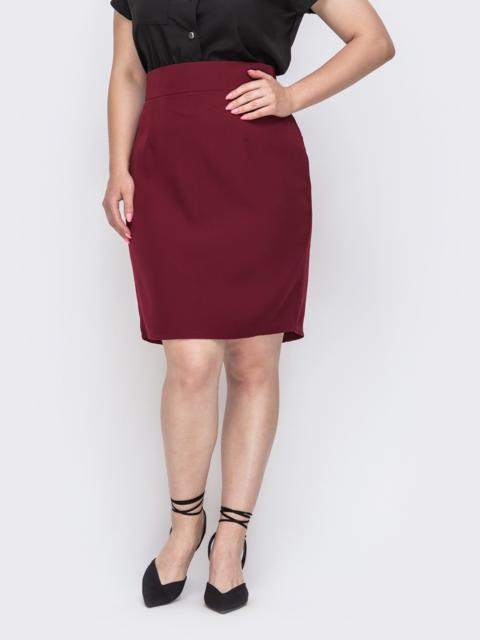 Бордовая юбка-карандаш большого размера 49906, фото 1