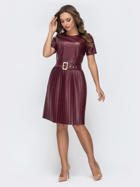 Бордовое платье с коротким рукавом и юбкой-плиссе 44919, фото 1