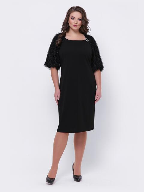 """Чёрное платье батал с рукавом """"реглан"""" - 44095, фото 1 – интернет-магазин Dressa"""