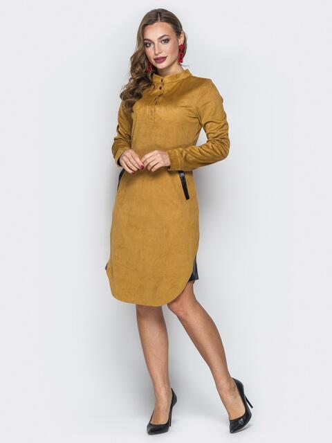 Горчичное платье с воротником-стойкой и кнопками - 19720, фото 1 – интернет-магазин Dressa
