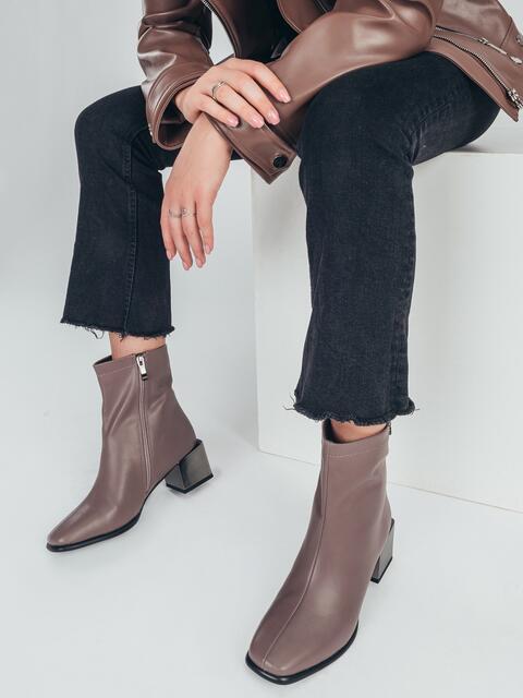 Осенние ботинки на устойчивом каблуке бежевые 51217, фото 1