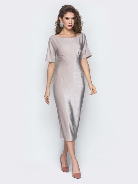 Пудровое платье с ложным запахом по спинке 18606, фото 1