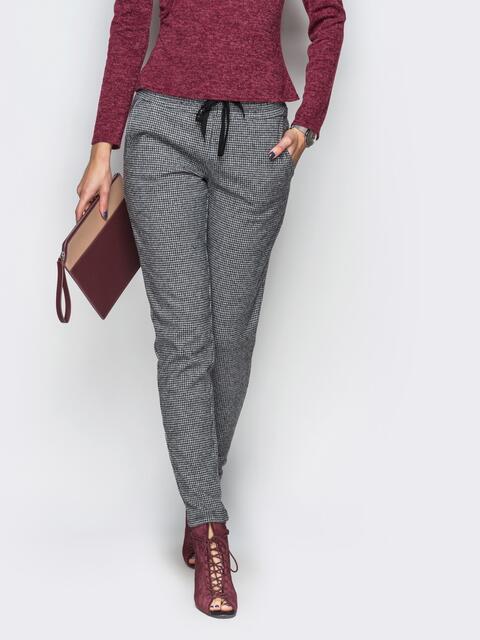 Серые брюки с завязкой на поясе 10313, фото 1