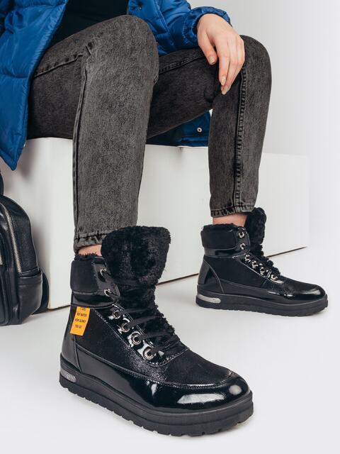 Зимние ботинки с лакированными вставками чёрные 51759, фото 1