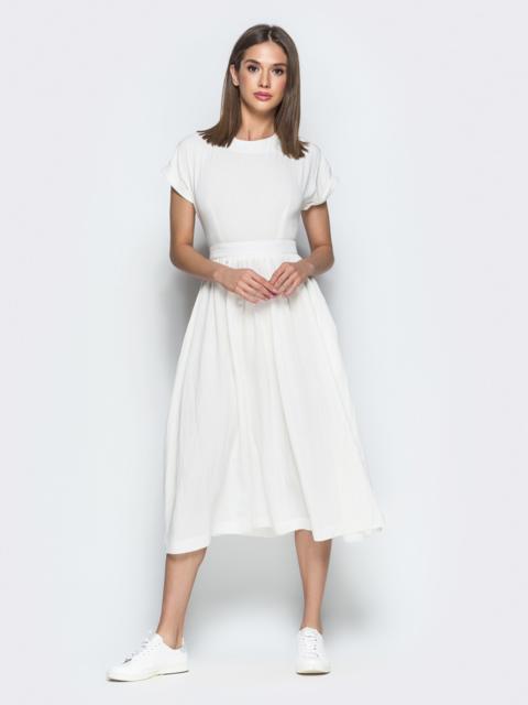 Белое платье из хлопка с вырезом по спине - 38597, фото 1 – интернет-магазин Dressa