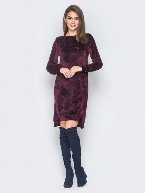 Бордовое велюровое платье с карманами - 18679, фото 1 – интернет-магазин Dressa