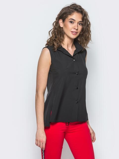 Черная блузка с удлиненной спикой и разрезом сзади 13323, фото 1