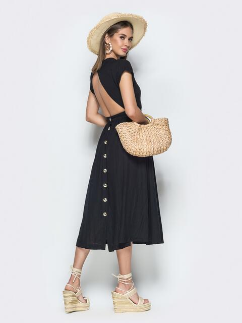 Чёрное платье из хлопка с вырезом по спинке 38596, фото 1