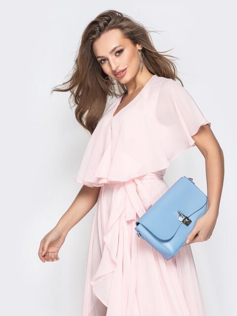 Голубая сумка-багет из эко-кожи на длинной цепочке - 21465, фото 1 – интернет-магазин Dressa