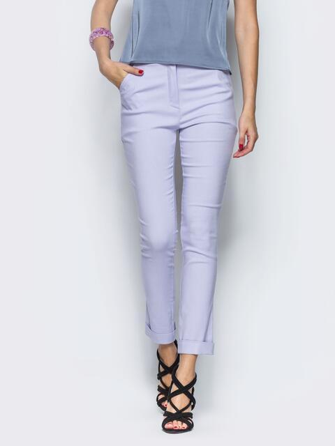 Голубые брюки из бенгалина с подворотом 12780, фото 1