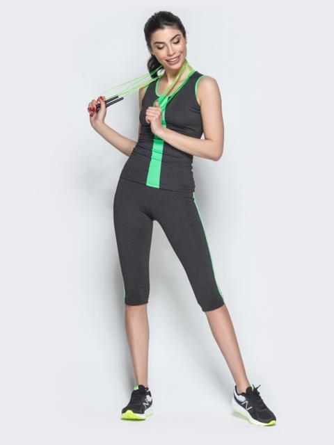 Комплект для фитнеса из майки и бридж с зелеными вставками - 38774, фото 1 – интернет-магазин Dressa