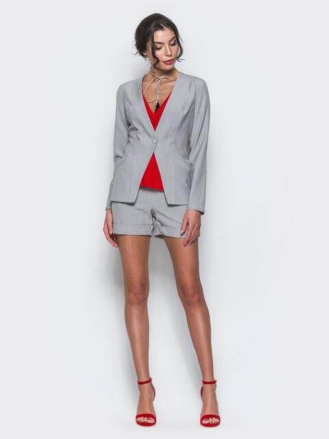 Комплект с шортами и жакетом серый 13357, фото 1
