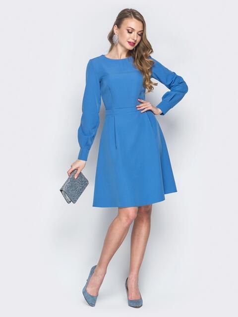 Платье из костюмной ткани с потайной молнией голубое - 18782, фото 1 – интернет-магазин Dressa
