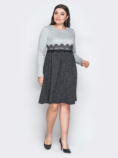 """Платье из трикотажа """"Ангора"""" с расклешенной юбкой серое - 18367, фото 1 – интернет-магазин Dressa"""