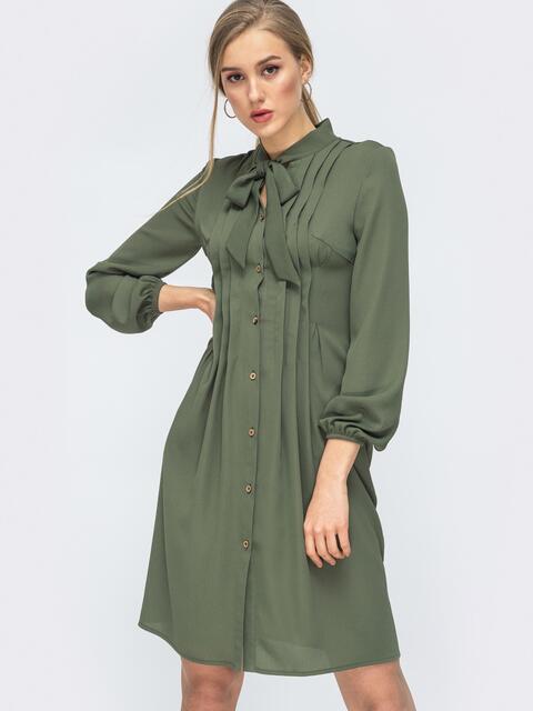 Платье на пуговицах с воротником-аскот цвета хаки 45429, фото 1