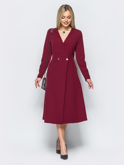 Платье-пиджак бордового цвета с расклешенной юбкой - 17553, фото 1 – интернет-магазин Dressa