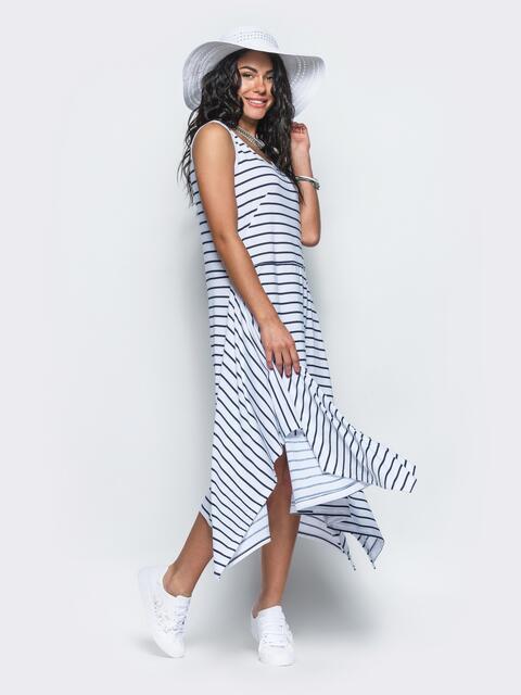 Платье в полоску с расклешенным низом белое 12627, фото 1