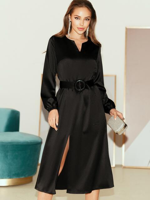 Расклешенное платье из атласа с разрезом спереди чёрное 51440, фото 1