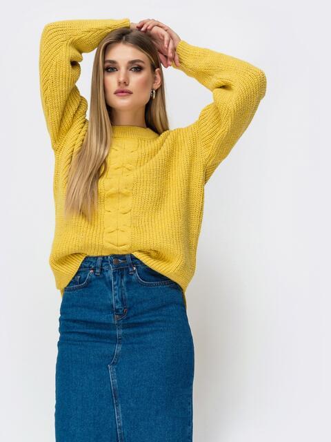 Свитер желтого цвета с удлиненной спинкой - 41807, фото 4 – интернет-магазин Dressa