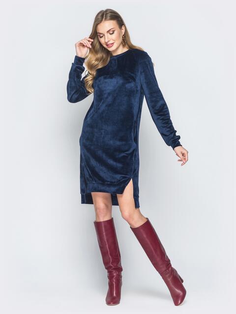 Темно-синее велюровое платье с карманами - 18678, фото 1 – интернет-магазин Dressa