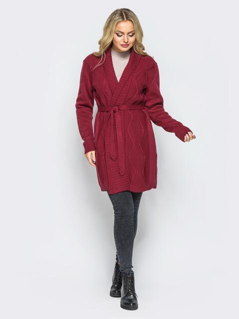 Вязаный кардиган с рельефной вязкой на полочке бордовый - 15809, фото 1 – интернет-магазин Dressa