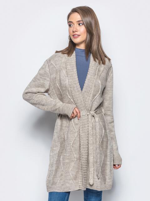 Вязаный кардиган с рельефной вязкой на полочке серый - 15810, фото 1 – интернет-магазин Dressa