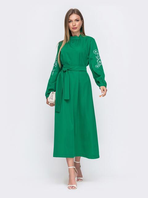 Зеленое платье-макси с вышивкой на рукавах 49477, фото 1
