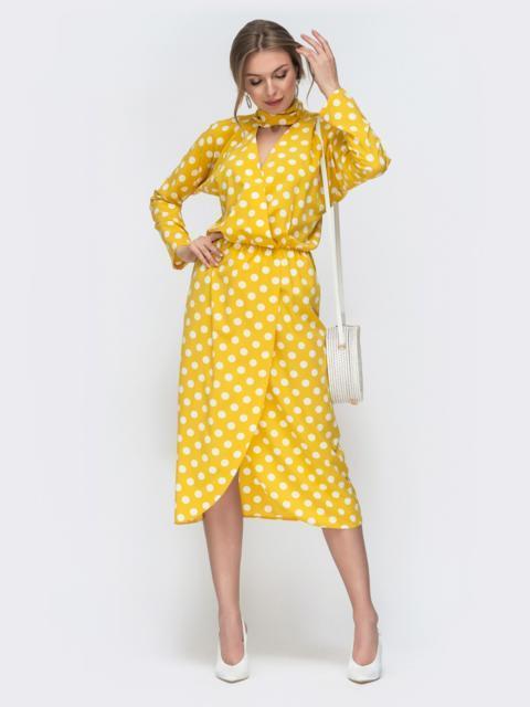 Желтое платье в горох с воротником-аскот - 45844, фото 1 – интернет-магазин Dressa