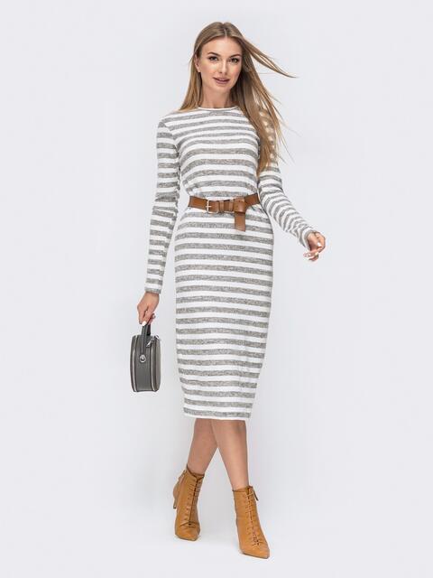 Белое платье-миди из ангоры в полоску 40529, фото 1