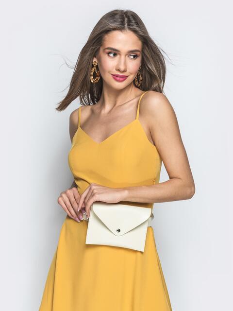 Бежевая сумка-кошелек на пояс из эко-кожи - 39335, фото 1 – интернет-магазин Dressa
