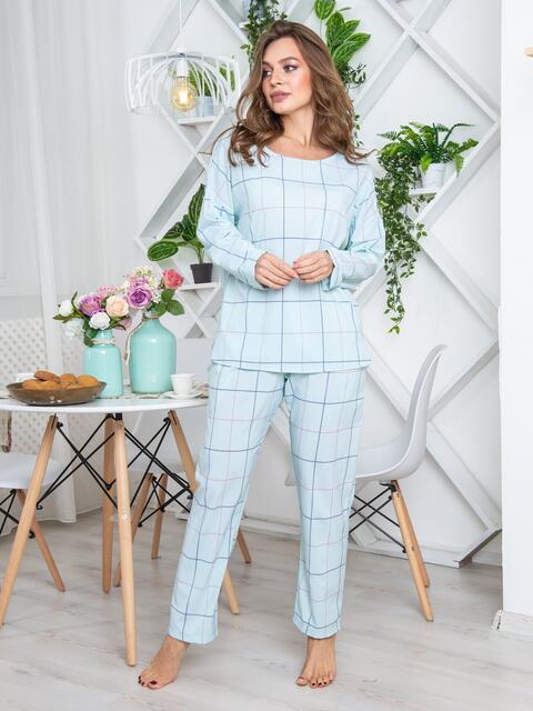 Брючная пижама из софта в клетку бирюзовая - 20419, фото 1 – интернет-магазин Dressa