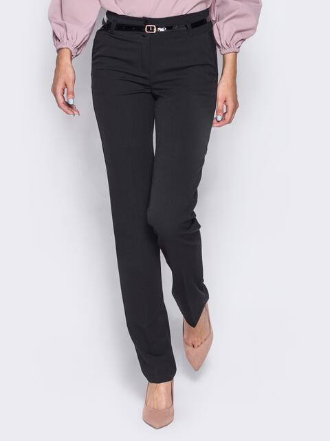 Брюки из костюмной ткани с карманами-обманками черные - 23020, фото 1 – интернет-магазин Dressa