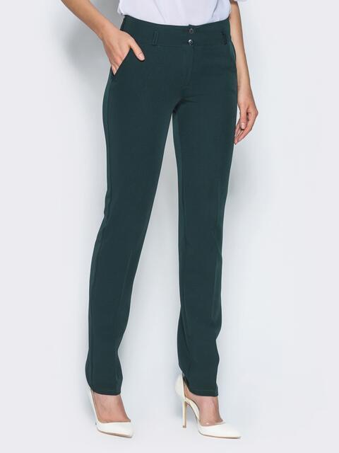 Брюки из костюмной ткани с карманами-обманками зелёные - 14412, фото 1 – интернет-магазин Dressa