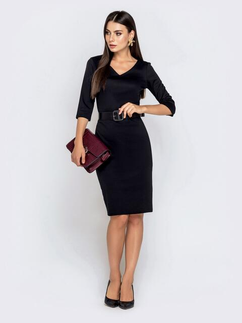 Чёрное платье-миди с рукавом 3/4 и V-вырезом - 40212, фото 1 – интернет-магазин Dressa