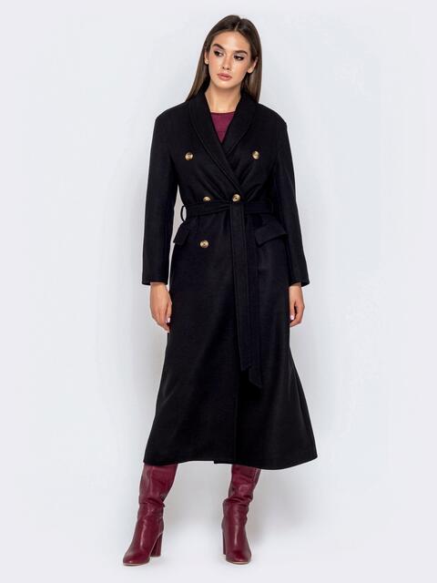Длинное пальто в стиле oversize с поясом чёрное - 40999, фото 1 – интернет-магазин Dressa