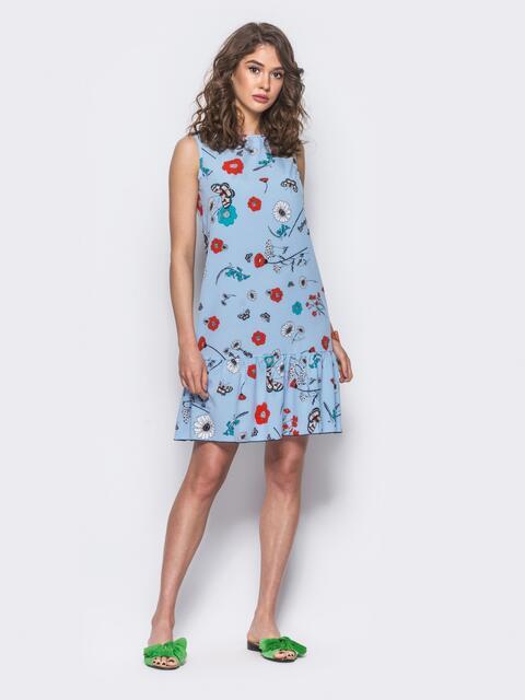 Голубое принтованое платье с оборкой по низу - 11573, фото 1 – интернет-магазин Dressa